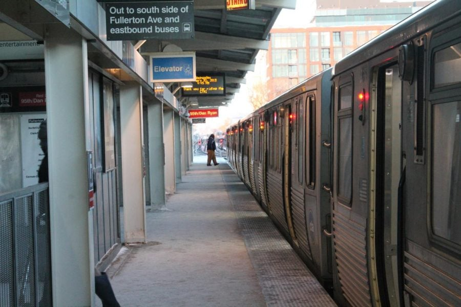 The Fullerton Red Line platform during rush hour on Jan. 30. Temperatures reaching -23 degrees left public transit services empty of passengers.