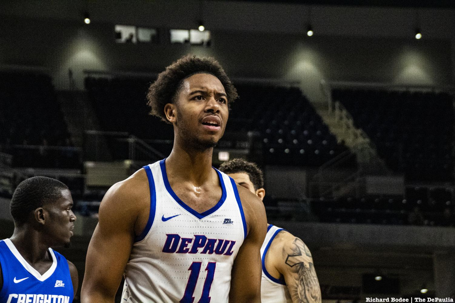 DePaul senior guard Eli Cain reacts to an unfavorable call in the first half of the Blue Demons 79-67 loss against Creighton Wednesday. Richard Bodee I The DePaulia.
