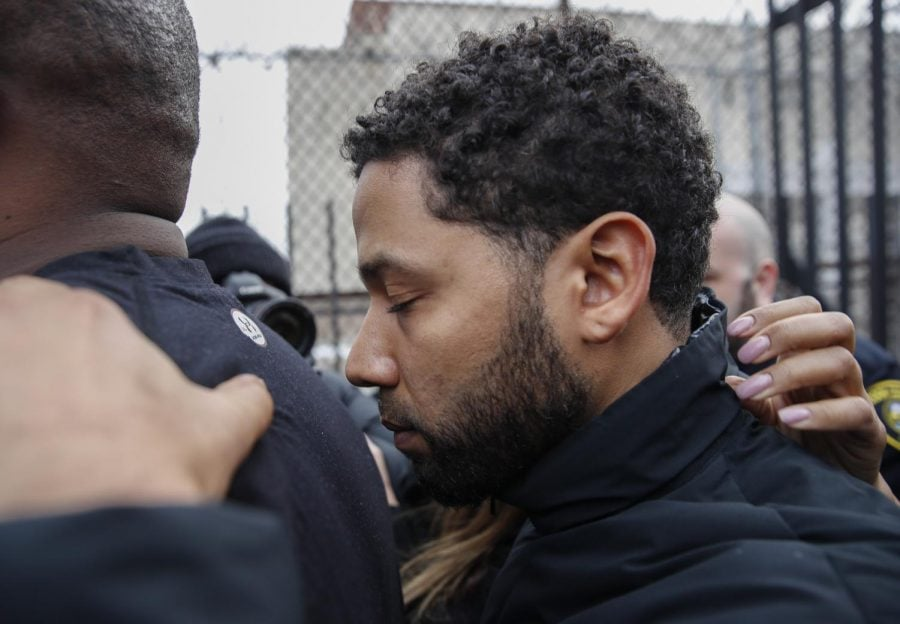 Jussie Smollett leaving Cook County jail on Thurs. Feb. 21 following his release from custody after being charged with disorderly conduct and filing a false police report.