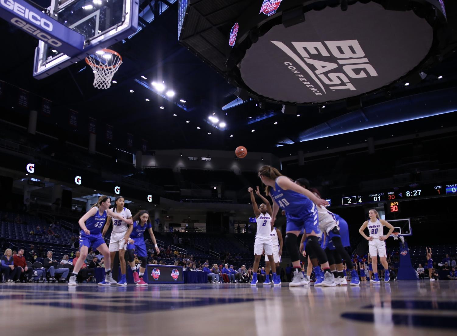 DePaul+freshman+Maya+Stovall+attempts+a+free+throw+during+Monday+night%E2%80%99s+game+at+Wintrust+Arena+in+front+of+a+reported+attendance+of+1%2C853+fans.+Alexa+Sandler+%7C+The+DePaulia