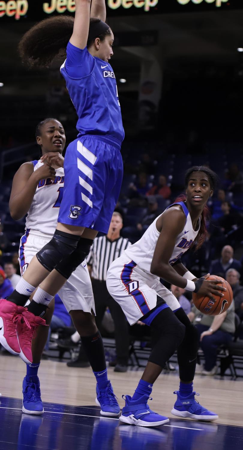 DePaul+junior+forward+Chante+Stonewall+waits+to+attempt+a+shot+with+Creighton+forward+Jaylyn+Agnew+rising+for+a+block.+Stonewall+led+the+Blue+Demons+with+12+points+and+four+rebounds.+Alexa+Sandler+%7C+The+DePaulia