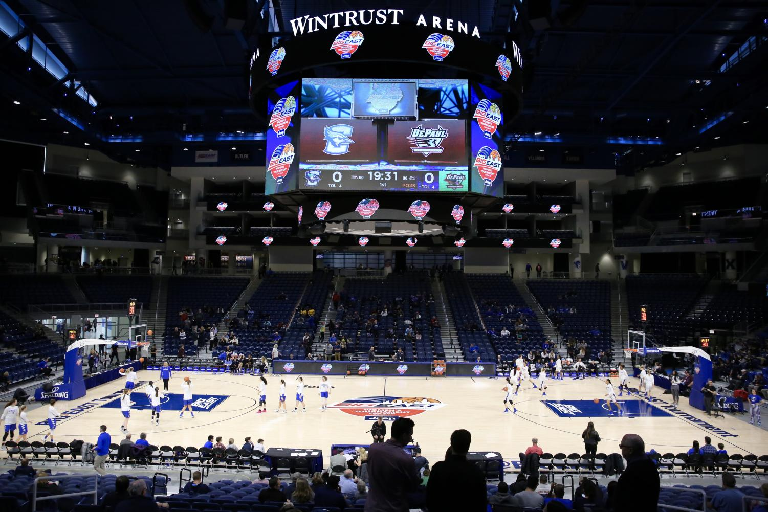 DePaul and Creighton players warm up with just under 20 minutes until gametime Monday night at Wintrust Arena. The Blue Demons won the game 80-69. Alexa Sandler | The DePaulia