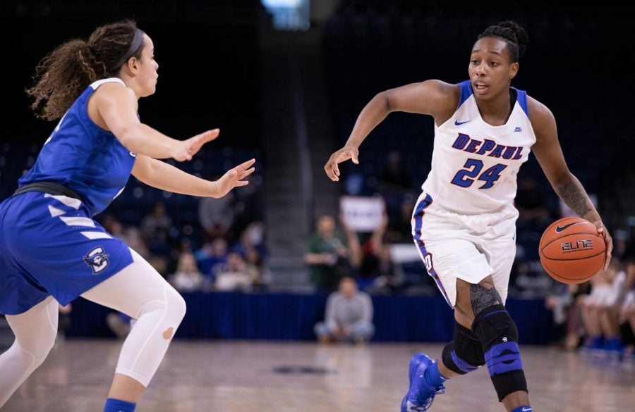 DePaul+senior+guard+Tanita+Allen+drives+to+the+basket+Monday+night+at+Wintrust+Arena.+Allen+finished+with+seven+points+in+eight+minutes+of+action.+Alexa+Sandler+%7C+The+DePaulia