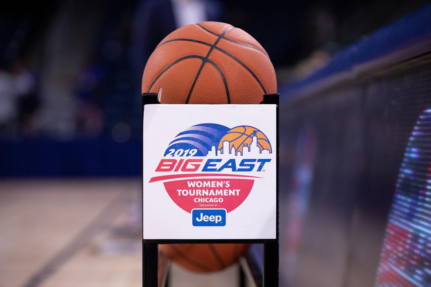 A+rack+of+basketballs+sits+on+the+sideline+for+DePaul%E2%80%99s+game+against+Creighton+Monday+night+at+Wintrust+Arena.+Alexa+Sandler+%7C+The+DePaulia