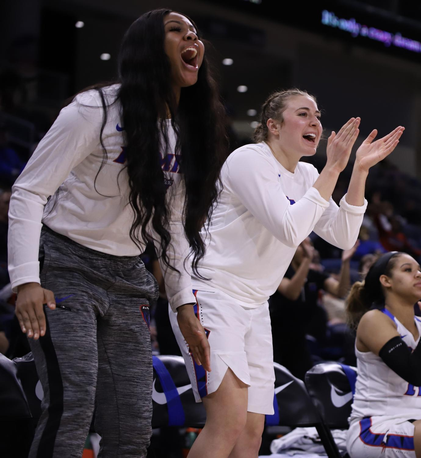 DePaul+freshman+forward+Dege+Jean+%28left%29+and+sophomore+guard+Jolene+Daninger+%28right%29+cheer+on+their+teammates+Monday+night+at+Wintrust+Arena.+The+Blue+Demons+advanced+to+the+Big+East+Tournament+championship+game+with+an+80-69+victory+over+Creighton.+Alexa+Sandler+%7C+The+DePaulia