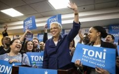 Toni Preckwinkle adresses a crowd of supporters Tuesday. She will face Lori Lightfoot in the runoff election, marking the first time in history of Chicago a  black woman will be elected mayor.