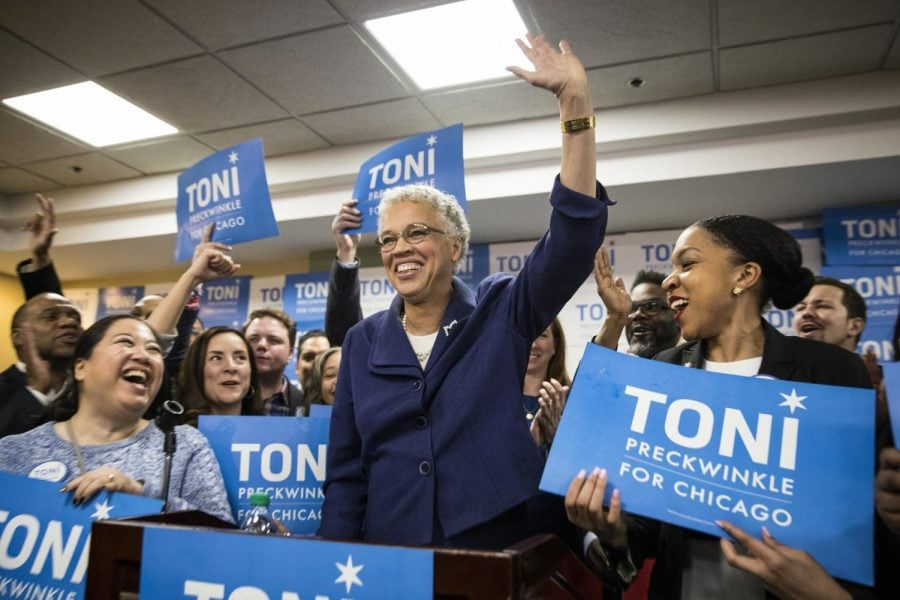 Toni+Preckwinkle+adresses+a+crowd+of+supporters+Tuesday.+She+will+face+Lori+Lightfoot+in+the+runoff+election%2C+marking+the+first+time+in+history+of+Chicago+a++black+woman+will+be+elected+mayor.+