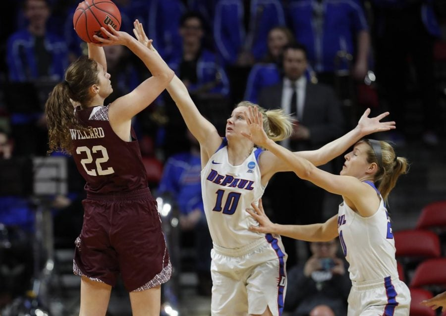 Freshman guard Lexi Held (center) and junior guard Kelly Campbell (right) challenge a shot by Missouri State guard Alexa Willard (left) during the Blue Demons 89-78 loss to the Lady Bears in the first round of the NCAA Tournament. Matthew Putney | AP