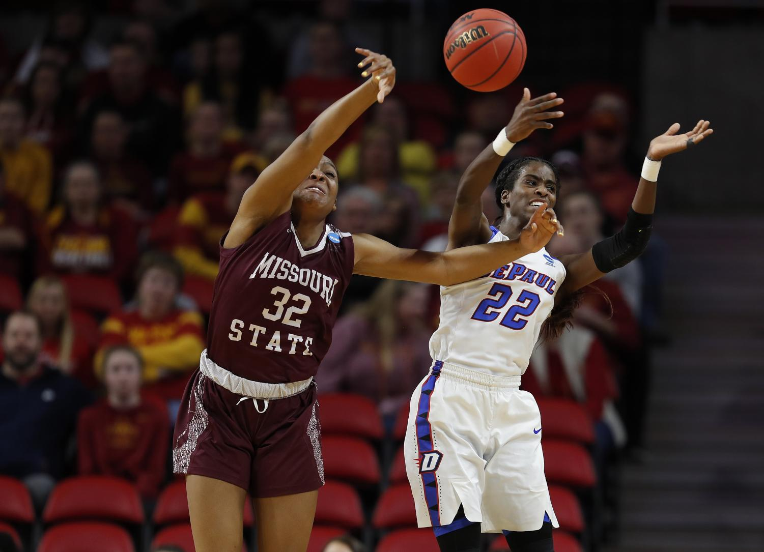 DePaul senior forward Chante Stonewall battles Missouri State forward Jasmine Franklin during the first round of the NCAA Tournament Saturday afternoon in Ames, Iowa. The Blue Demons lost the game 89-78. Matthew Putney | AP