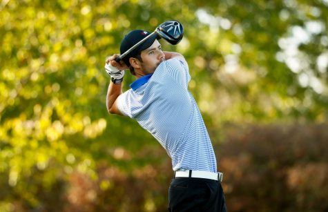 Senior golfer Bobby Thomas swings away during the Fighting Irish Classic in October, 2017. Thomas finished the tournament with a total score of 223.