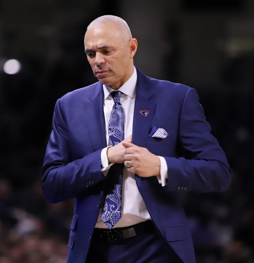 DePaul+head+coach+Dave+Leitao+paces+the+sidelines+during+the+Blue+Demons+game+against+Georgetown+on+March+6+at+Wintrust+Arena.+Alexa+Sandler+%7C+The+DePaulia+