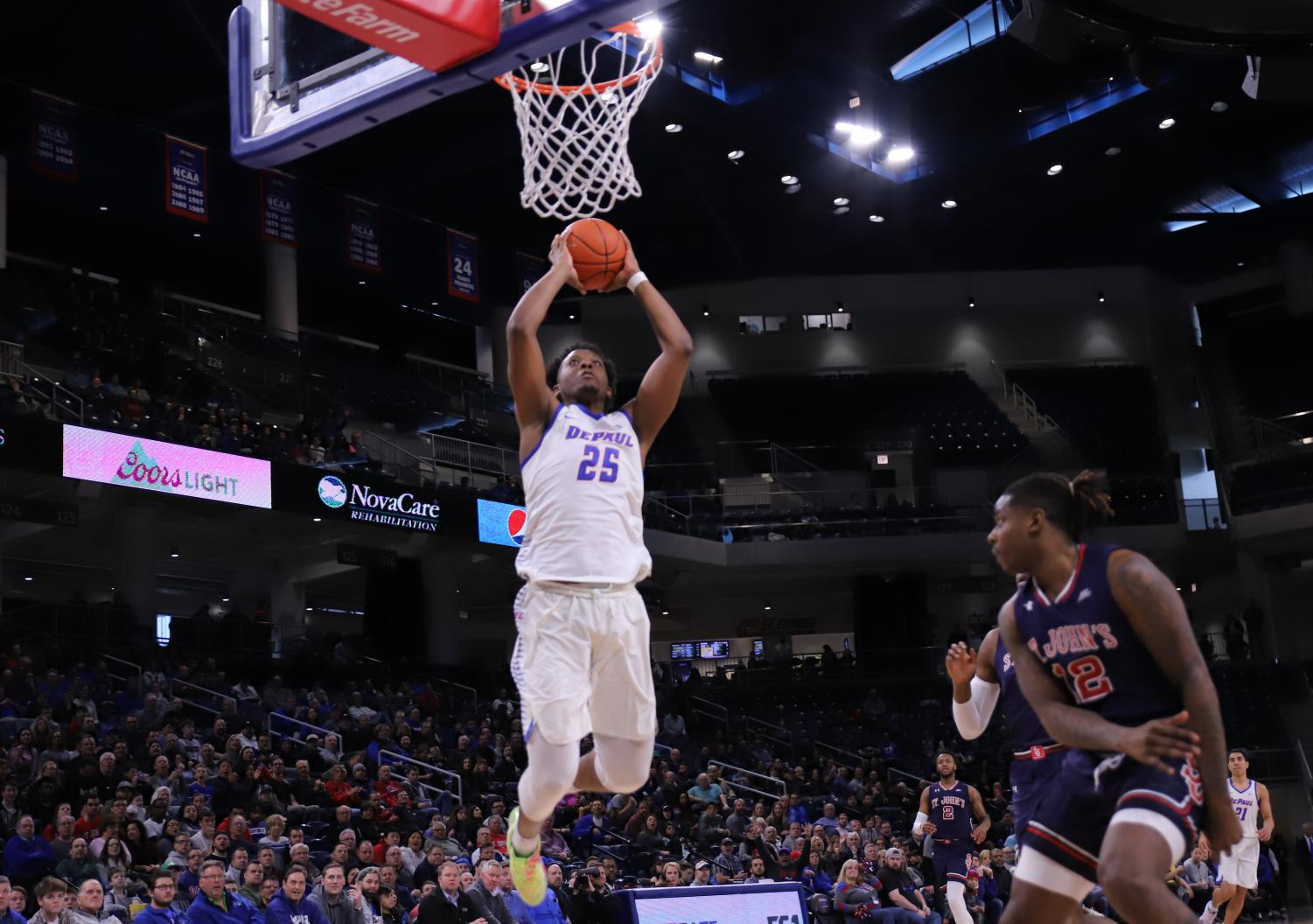 Senior+forward+Femi+Olujobi+rises+for+a+dunk+during+the+first+half+of+DePauls+win+over+St.+Johns+Sunday+afternoon+at+Wintrust+Arena.+Olujobi+finished+with+23+points+and+10+rebounds.++Alexa+Sandler+%7C+The+DePaulia