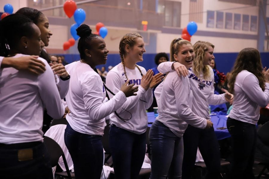 DePaul+players+celebrate+the+program%27s+17th+consecutive+NCAA+Tournament+berth+Monday+night+at+McGrath-Phillips+Arena.+Xavier+Ortega+%7C+The+DePaulia