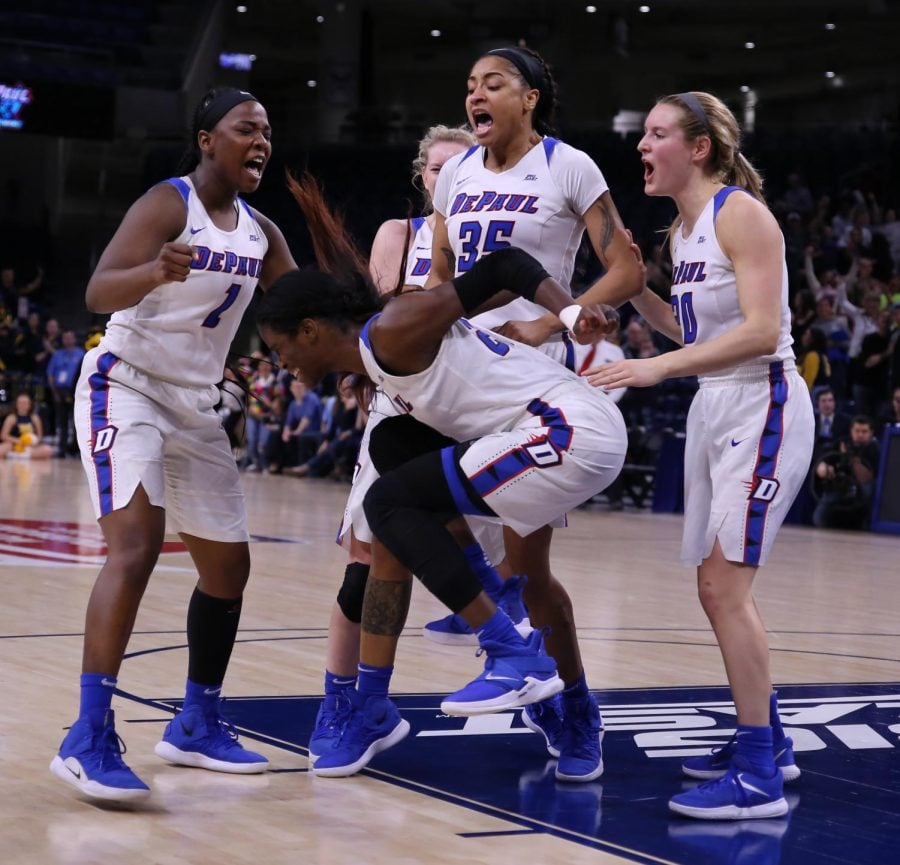 DePaul+junior+Chante+Stonewall+and+teammates+react+after+an+and-one+call+with+five+seconds+left+in+the+title+game+against+Marquette.+Stonewall+made+the+free+throw+to+give+her+team+a+74-73+victory.+Alexa+Sandler+%7C+The+DePaulia