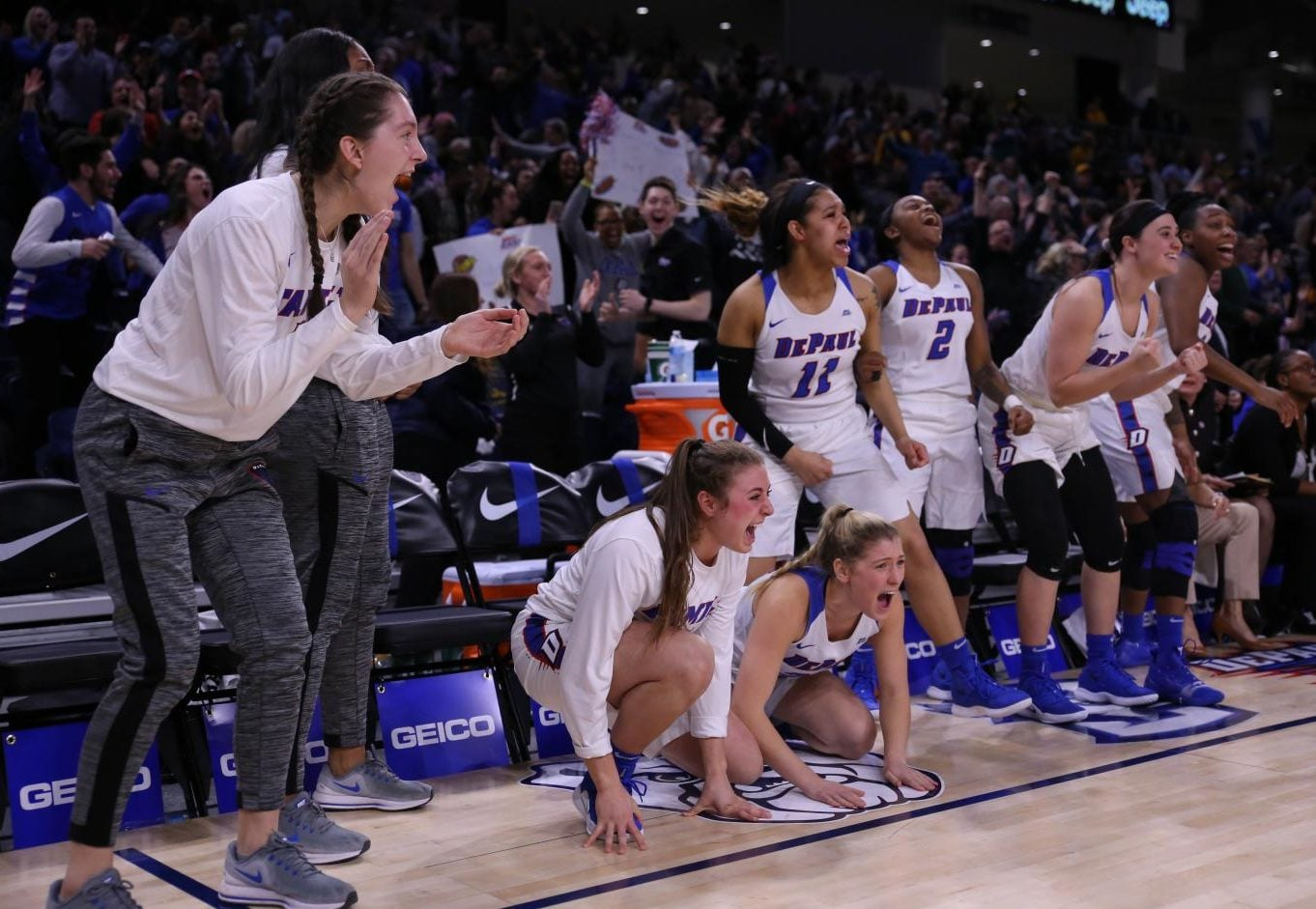 The+DePaul+bench+reacts+to+the+late-game+drama+that+ended+with+the+Blue+Demons+topping+the+Golden+Eagles+in+the+Big+East+Championship+game+Tuesday+night+at+Wintrust+Arena.+Alexa+Sandler+%7C+The+DePaulia