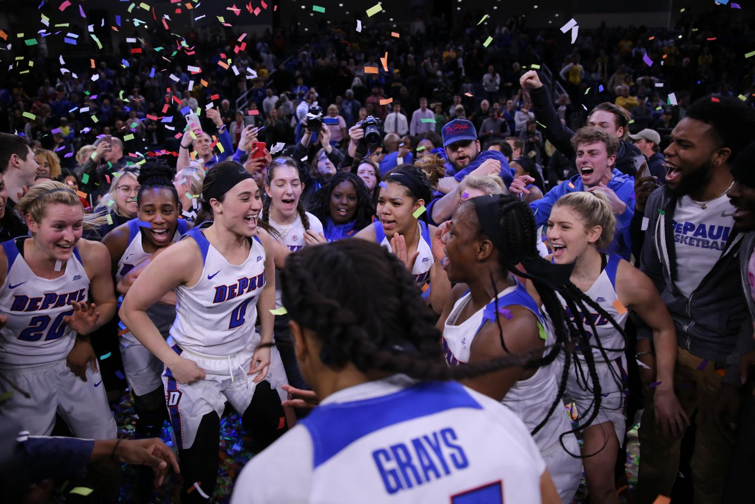 DePaul+players+and+fans+celebrate+a+second+consecutive+Big+East+Tournament+championship+for+the+Blue+Demons.+Alexa+Sandler+%7C+The+DePaulia