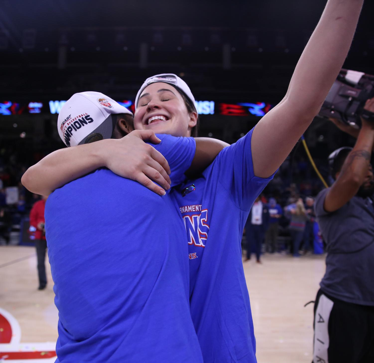 DePaul+senior+Rebekah+Dahlman+celebrates+with+a+teammate+after+the+Blue+Demons+punched+their+ticket+to+the+NCAA+Tournament.+Dahlman+appeared+in+just+one+game+last+season+as+DePaul+lost+to+Texas+A%26M+in+the+second+round+of+the+NCAA+Tournament.+Alexa+Sandler+%7C+The+DePaulia+