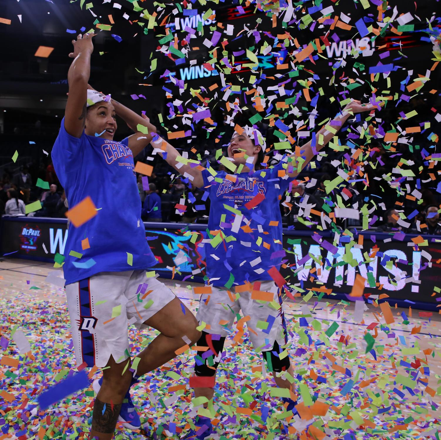 DePaul+seniors+Mart%27e+Grays+and+Rebekah+Dahlman+celebrate+with+confetti+after+the+Blue+Demons+rallied+for+74-73+victory+Tuesday+night+at+Wintrust+Arena.++Alexa+Sandler+%7C+The+DePaulia