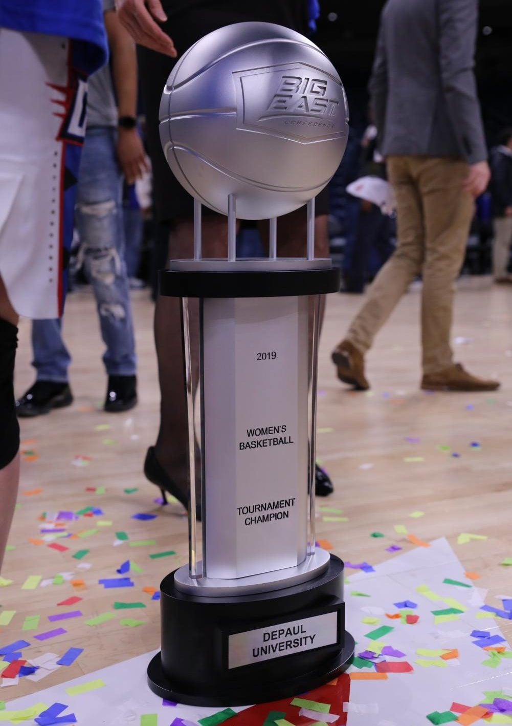 The+Big+East+Championship+trophy+sits+on+the+Wintrust+Arena+court+after+the+title+game+Tuesday+night+at+Wintrust+Arena.+Alexa+Sandler+%7C+The+DePaulia