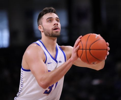 DePaul senior guard Max Strus lines up a free throw during DePaul's victory over St John's Sunday afternoon at Wintrust Arena. Alexa Sandler | The DePaulia