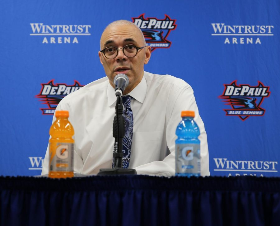 DePaul head coach Dave Leitao talks with the media following the Blue Demons 101-69 victory over Georgetown on March 6. The Blue Demons have another chance to end the season on a high note after a disappointing finish to the season with losses to Creighton and St. John's.