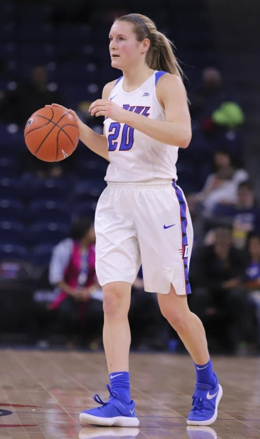 DePaul junior guard Kelly Campbellbrings up the ball in the first half against Butler on Feb. 24 at Wintrust Arena. Campbell finished with 13 points and six rebounds.