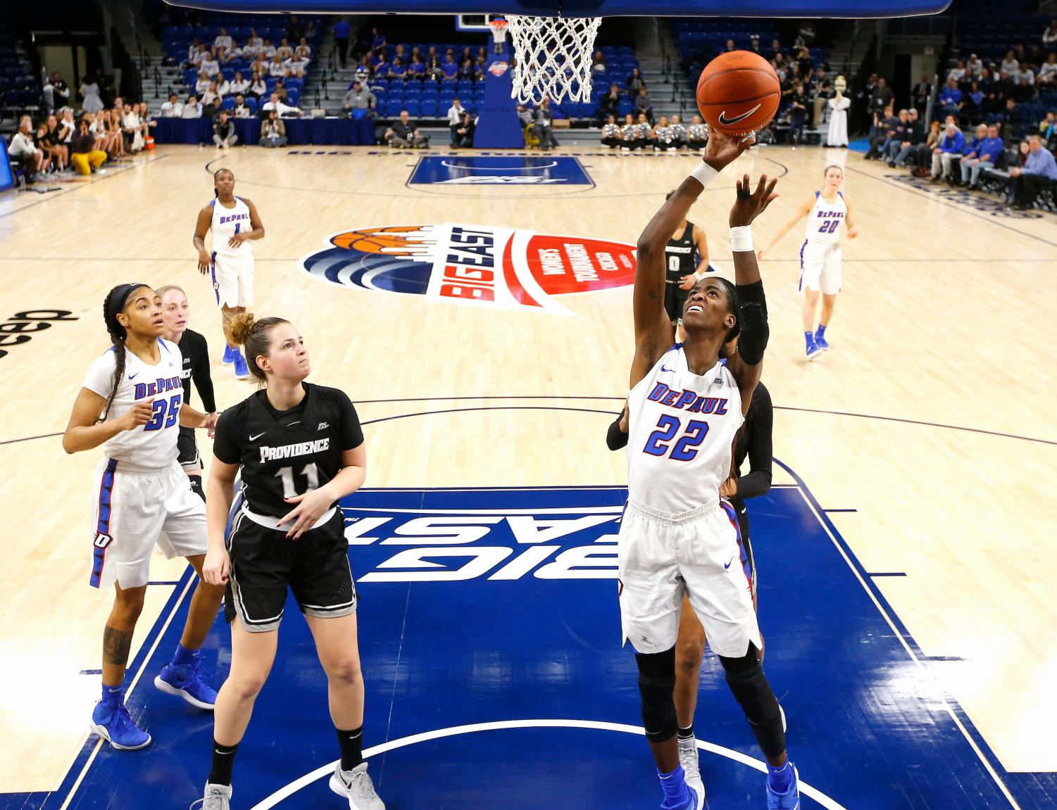 DePaul junior forward Chante Stonewall attempts a layup during the Blue Demons win over Providence Sunday night in the quarterfinals of the Big East Tournament. Stonewall finished with nine points. Steve Woltmann/BIG EAST
