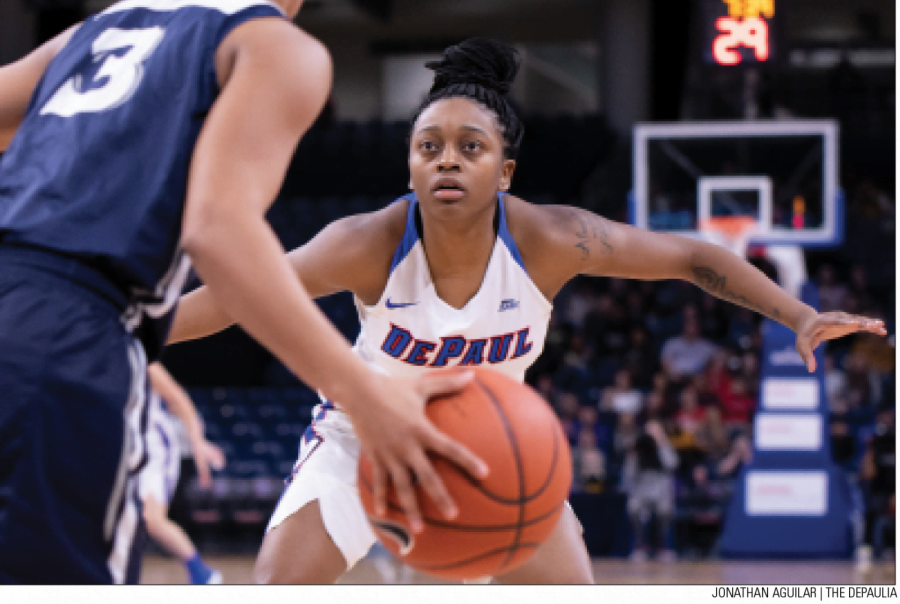 DePaul freshman guard Maya Stovall guards Xavier's Aaliyah Dunham during the second quarter on Feb. 22 at Wintrust Arena