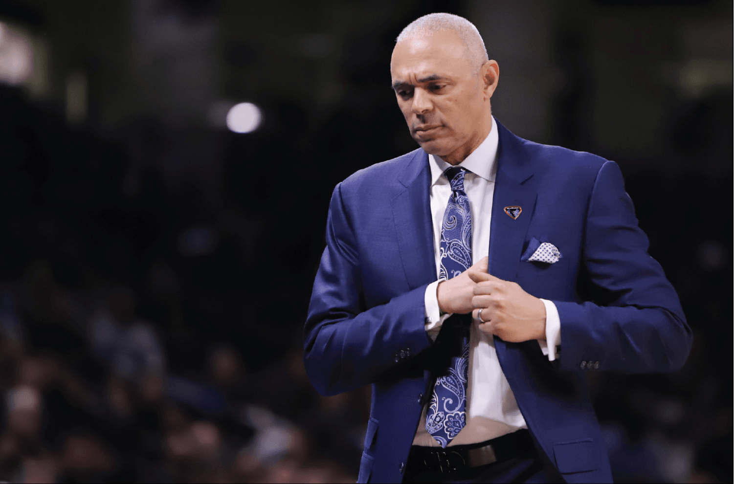 Dave Leitao walks off the court at Wintrust Arena. DePaul lost game one of the CBI finals 63-61 to South Florida at the Yuengling Center on Monday night.