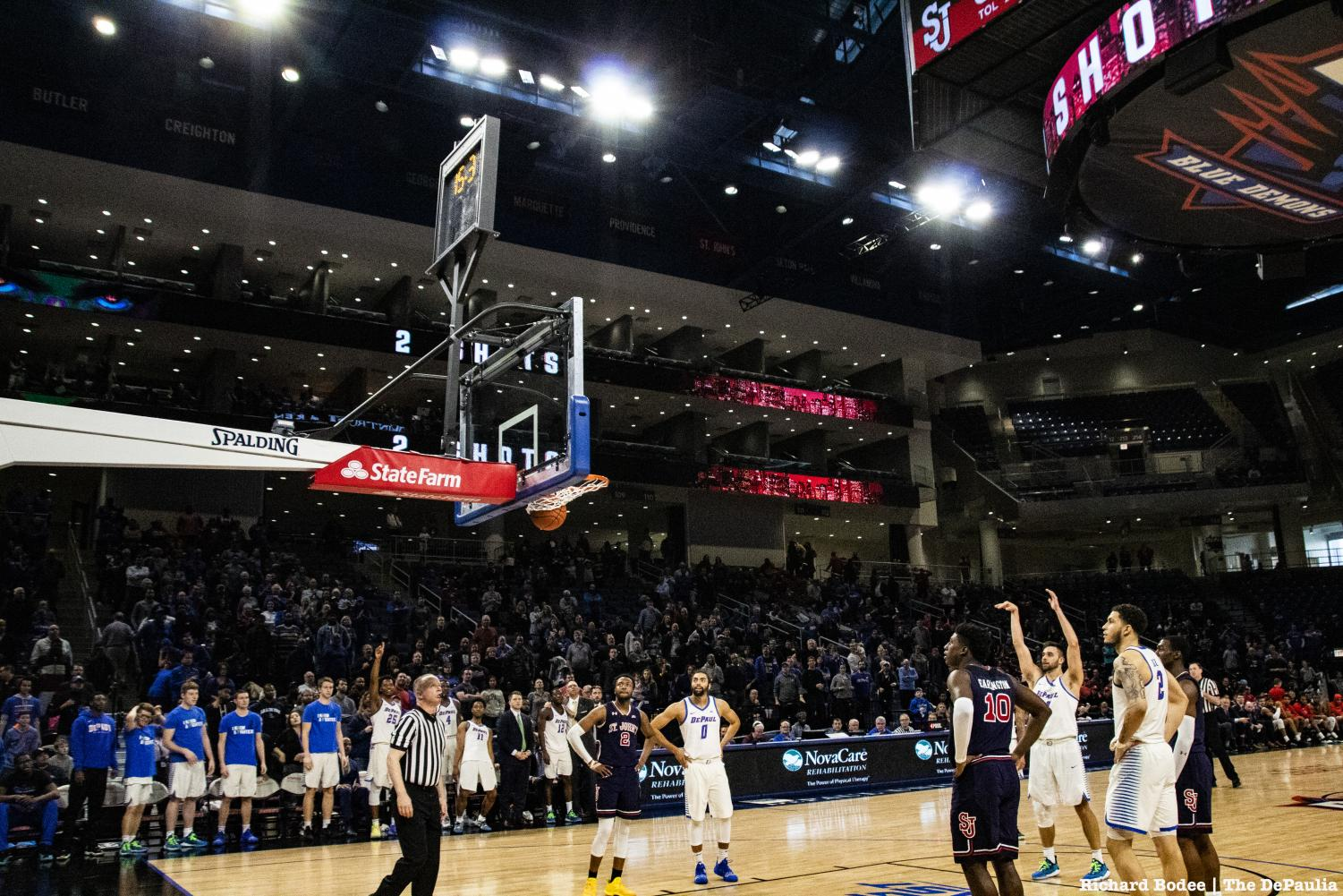 DePaul+senior+guard+Max+Strus+sinks+a+free+throw+to+finish+with+a+career+high+43+points+Sunday+afternoon+at+Wintrust+Arena.+Richard+Bodee+%7C+The+DePaulia