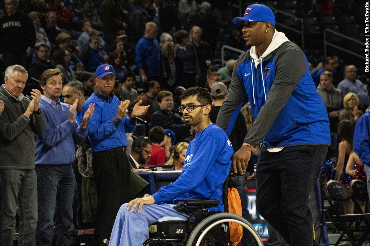 DePaul student manager Aameer Sahi, who is battling a malignant peripheral nerve sheath tumor, was at the game today. Richard Bodee I The DePaulia
