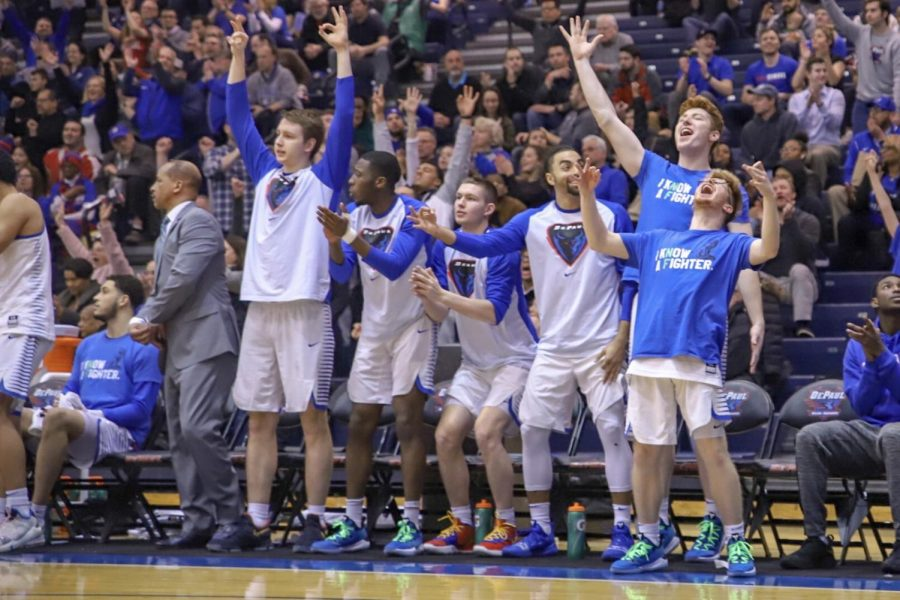 DePaul+bench+players+react+to+a+big+play+during+the+Blue+Demons+100-86+victory+against+Central+Michigan+in+the+first+round+of+the+CBI+tournament+on+Wednesday+night.+Jonathan+Aguilar+I+The+DePaulia+