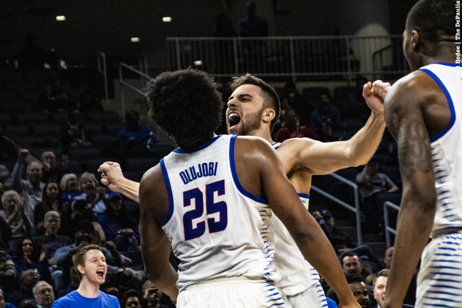 Seniors Max Strus and Femi Olujobi combined for 66 points in the Blue Demons 92-83 victory against the St. John's Red Storm Sunday at Wintrust Arena. Richard Bodee I The DePaulia