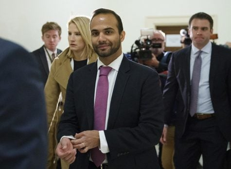 In this Oct. 25, 2018 file photo, George Papadopoulos, the former Trump campaign adviser who triggered the Russia investigation, arrives for his first appearance before congressional investigators, on Capitol Hill in Washington.