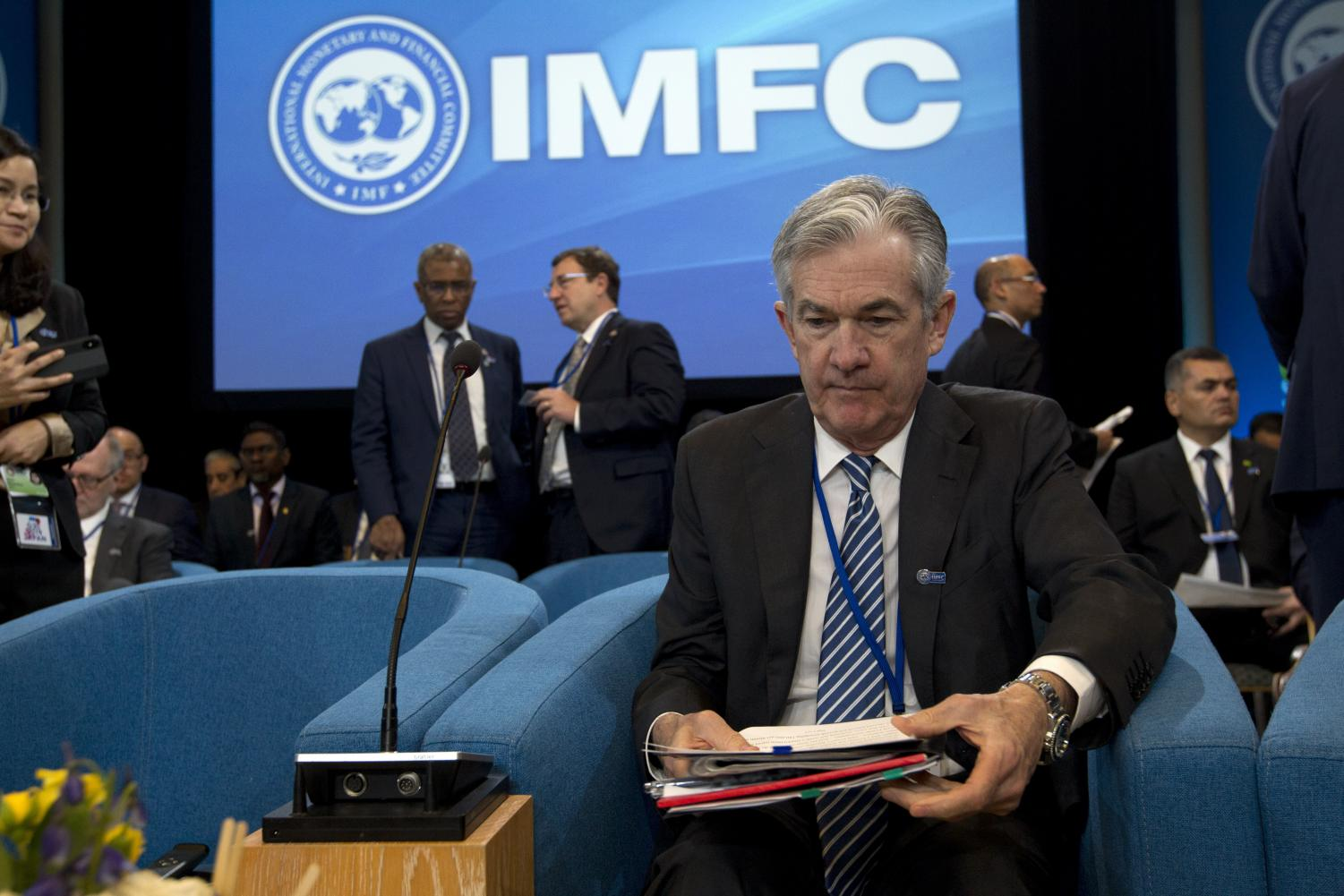 Federal Reserve Board Chair Jerome Powell during the International Monetary and Financial Committee meeting, at the World Bank/IMF Spring Meetings in Washington, Saturday, April 13, 2019.