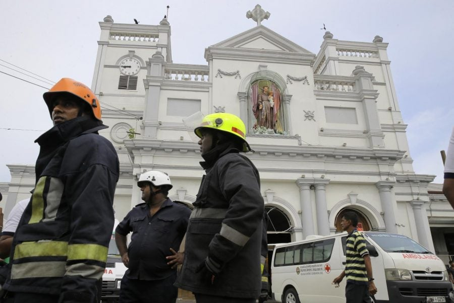 Sri+Lankan+firefighters+stand+in+the+area+around+St.+Anthony%27s+Shrine+after+a+blast+in+Colombo%2C+Sri+Lanka%2C+Sunday%2C+April+21%2C+2019.+Witnesses+are+reporting+two+explosions+have+hit+two+churches+in+Sri+Lanka+on+Easter+Sunday%2C+causing+casualties+among+worshippers.