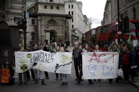 Climate protesters in London outside of the Bank of England on April 25. Organized by the group Extinction Rebellion, the protestors disrupted the city for 10 days.