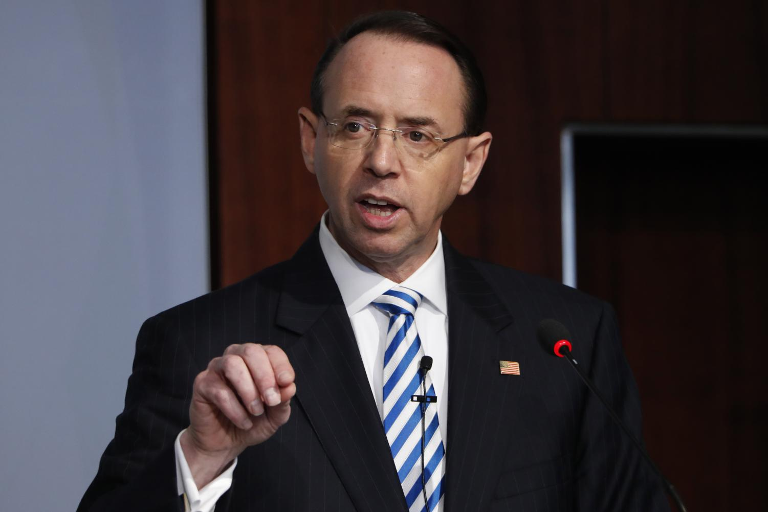 In this Feb. 25, 2019, file photo, Deputy Attorney General Rod Rosenstein speaks at a Center for Strategic and International Studies (CSIS) event on the rule of law in Washington. Rosenstein has submitted a letter of resignation to President Donald Trump. It's effective May 11.