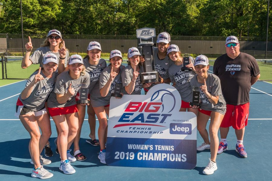 The+DePaul+women%27s+tennis+team+pose+for+a+picture+together+after+winning+the+Big+East+Tournament+championship.+The+Blue+Demons+defeated+Xavier+4-3+in+the+final+on+April+22+in+South+Carolina.+