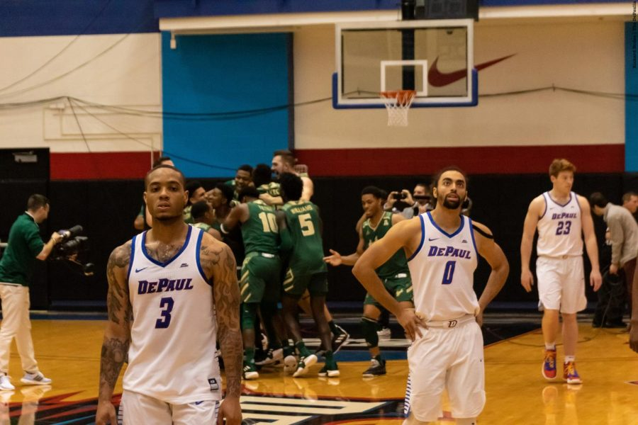 Redshirt+sophomore+guard+Devin+Gage+%283%29+and+junior+Lyrik+Shreiner+%280%29+walk+off+the+court+following+DePaul%27s+77-65+loss+to+South+Florida.+Richard+Bodee+%7C+The+DePaulia