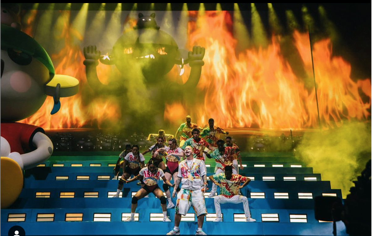 Reggeaton artist J Balvin on stage during his performance at this year's Coachella Valley Music and Arts Festival in Indio, California.