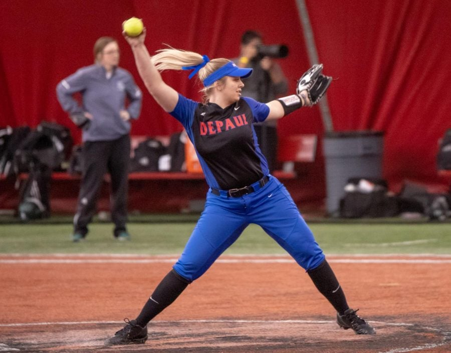 Sophomore+pitcher+Natalie+Halvorson+winds+up+for+a+pitch+during+DePaul%27s+Feb.+9+game+against+Green+Bay+at+the+Total+Control+Sports+Invitational.+Halvorson+leads+the+team+both+in+wins+and+in+ERA+so+far+this+season%2C+with+a+record+of+13-5+and+an+ERA+of+3.41.+%28Jonathan+Aguilar+%7C+The+DePaulia%29