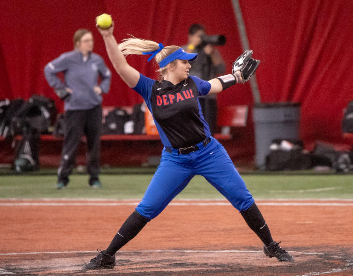 Sophomore pitcher Natalie Halvorson winds up for a pitch during DePaul's Feb. 9 game against Green Bay at the Total Control Sports Invitational. Halvorson leads the team both in wins and in ERA so far this season, with a record of 13-5 and an ERA of 3.41. (Jonathan Aguilar | The DePaulia)