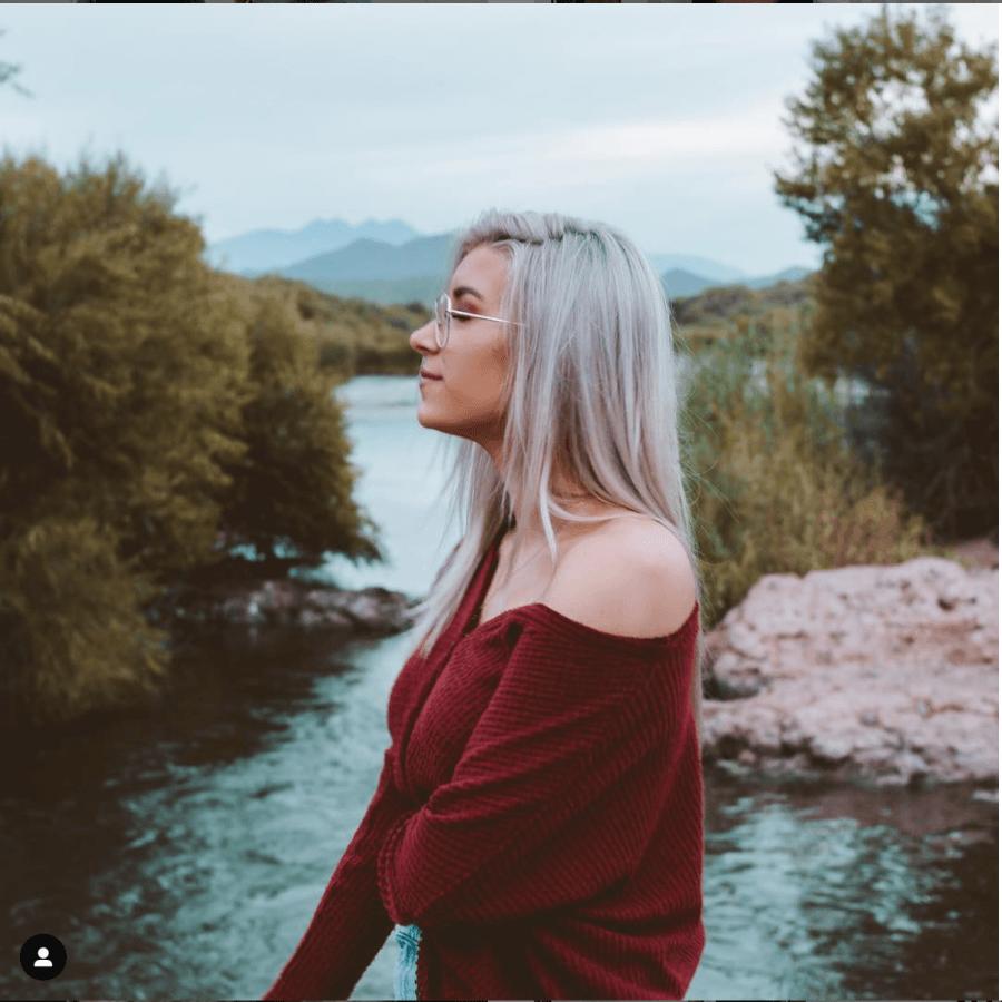 An Instagram post from influencer Keaton Milburn showing off her silver hair. KEATON MILBURN/INSTAGRAM