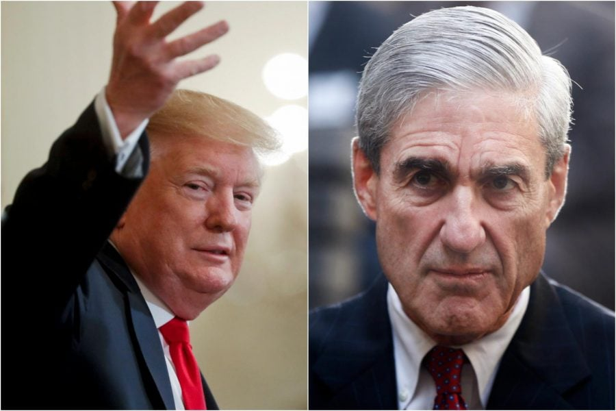 LEFT: President Donald Trump gestures during at the White House, Thursday, April 18, 2019. RIGHT: An Oct. 28, 2013, file photo of former FBI Director Robert Mueller in Washington. Mueller's long-awaited report on Russian interference in the 2016 presidential election was released Thursday.
