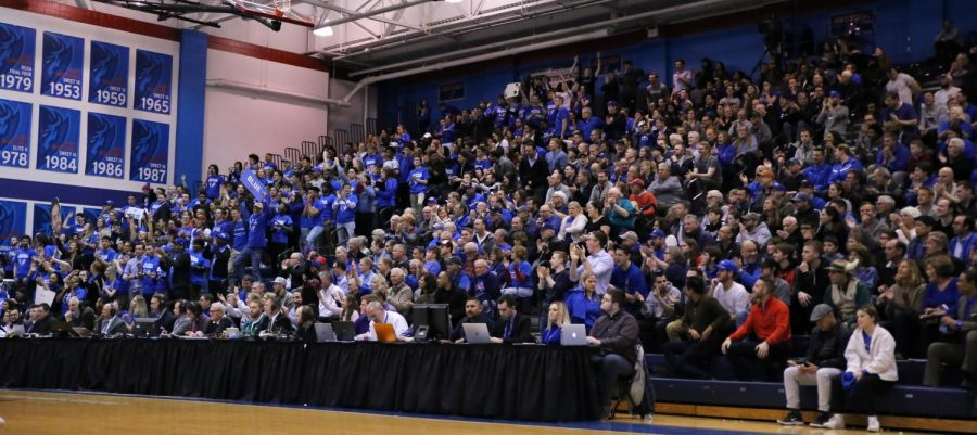 The+DePaul+student+section+and+the+rest+of+the+bleachers+was+packed+during+the+Blue+Demons+game+two+victory+over+USF+on+Wednesday+night+at+McGrath-Phillips+Arena.++Alexa+Sandler+%7C+The+DePaulia