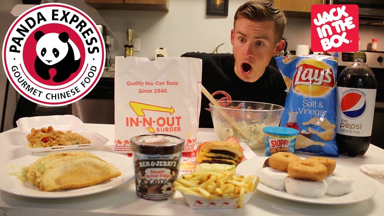YouTube star Erik the Electric in one of his many mukbang videos featuring popular American fast food items.
