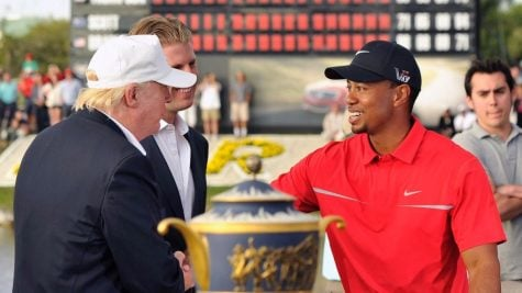 March 10, 2013; Miami,  FL, USA; Tiger Woods is congratulated by Donald Trump for his victory at the WGC Cadillac Championship at Trump Doral Golf Club.