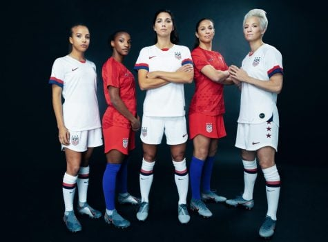 (left to right) Mallory Pugh, Crystal Dunn, Alex Morgan, Carli Lloyd and Megan Rapinoe wear new USA women