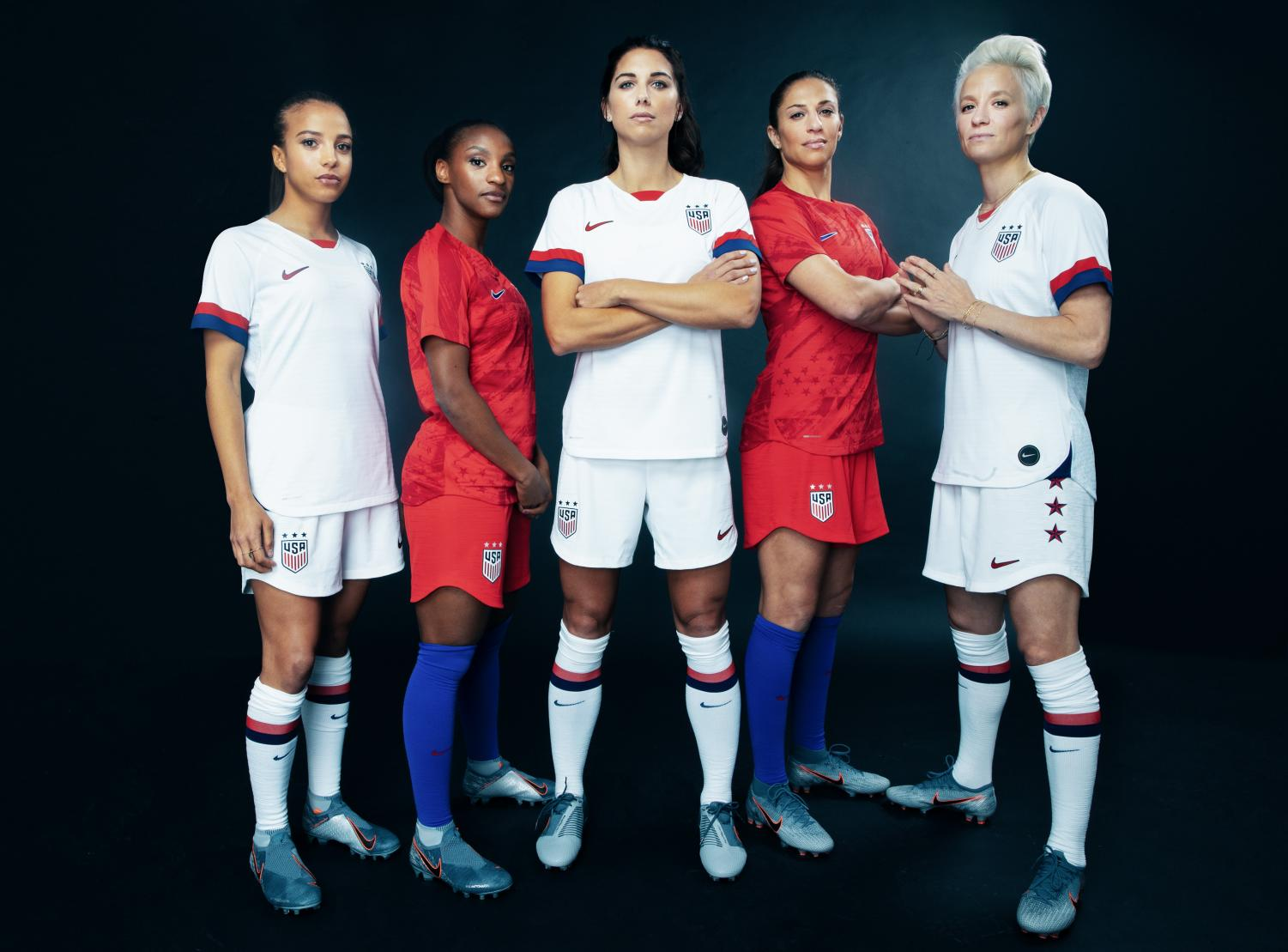 (left to right) Mallory Pugh, Crystal Dunn, Alex Morgan, Carli Lloyd and Megan Rapinoe wear new USA women's World Cup jerseys.